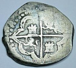 1590's Philip II Spanish Silver 1 Reales Genuine 1500's Colonial Pirate Cob Coin