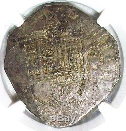 1593/2 B Spain Felipe II Silver Cob 8 Reales Ngc-xf-40 L@@k