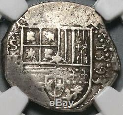 1593-B NGC XF 40 Spain 2 Reales Seville Philip II Cob Silver Coin (20051902C)