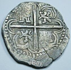 1593 Spanish Silver 2 Reales Piece of 8 Real Colonial Pirate Treasure Cob Coin