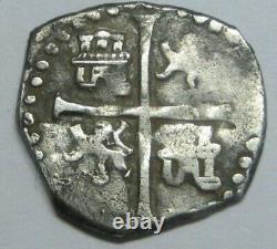 1595 PHILIP II 1/2 REAL COB SEVILLA ASSAYER B FULL DATE SILVER COLONIAL ERA1500s