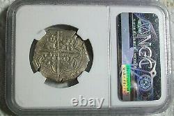 1596 B Seville Spain Felipe II Silver Cob 4 Reales Ngc Vf-details (13.62 Grams)