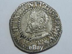 1596 Philip II 1/2 Real Cob Half Croat Barcelona Spanish Spain Silver