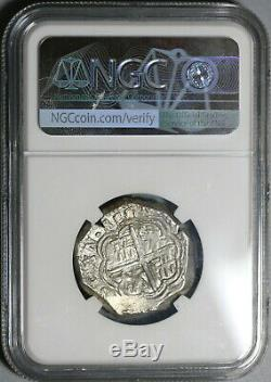 1597-MG NGC AU 55 Spain 4 Reales Philip II Granada Cob Silver Coin 20010501C