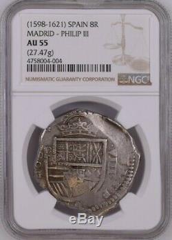 (1598-1621) Madrid, Spain Silver Cob 8 Reales NGC AU55