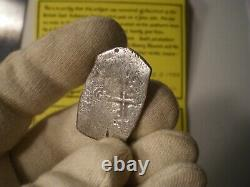1600 Era Mexico 8 Reales Joanna Shipwreck Cob Silver Coin & Cert