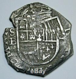 1600 Full Date Spanish Silver 2 Reales Antique Colonial Pirate Treasure Cob Coin