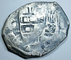 1600's Cross Countermark Shipwreck Spanish Silver 4 Reales Counterstamp Cob Coin