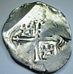 1600's Mexico Silver 8 Reales Genuine Antique Spanish Colonial Pirate Cob Coin