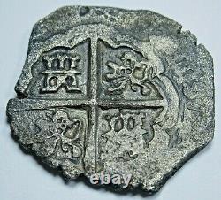 1600's Shipwreck Silver 2 Reales Old Spanish Colonial Pirate Treasure Cob Coin