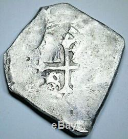 1600's Shipwreck Spanish Mexico Silver 8 Reales Colonial Dollar Pirate Cob Coin