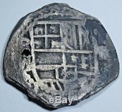 1600's Shipwreck Spanish Silver 2 Reales Piece of 8 Real Antique Pirate Cob Coin