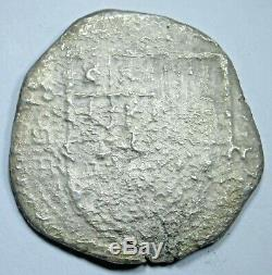 1600's Shipwreck Spanish Silver 4 Reales Antique Colonial Pirate Cob Coin