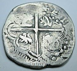 1600's Spanish Bolivia Silver 2 Reales Cob Antique Colonial Two Bits Pirate Coin