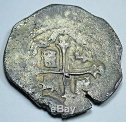 1600's Spanish Mexico Silver 2 Reales Two Bits Real Antique Colonial Cob Coin