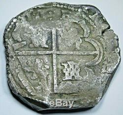 1600's Spanish Potosi T Silver 8 Reales Colonial Dollar Pirate Treasure Cob Coin