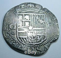 1600's Spanish Silver 2 Reales Piece of Eight Real Colonial Treasure Cob Coin