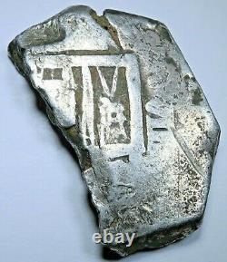 1600s Half Cut Spanish 8 Reales Antique Colonial Pirate Dollar Treasure Cob Coin