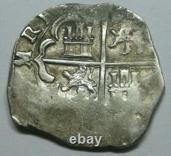 1600s PHILIP III 2 REAL COB GRANADA SCARCE SPANISH SILVER COLONIAL ERA ANTIQUE