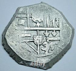 1600s Spanish Shipwreck Silver 4 Reales Piece of 8 Real Colonial Pirate Cob Coin