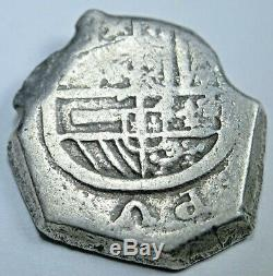 1600s Spanish Silver 2 Reales Piece of 8 Real Colonial Cob Two Bit Treasure Coin