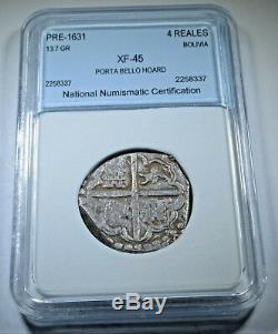 1600s Spanish Silver 4 Reales Cob Eight Real Colonial Half Dollar Treasure Coin