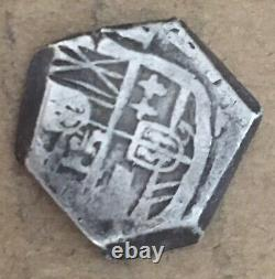 1600s Spanish Spain 1 Real Cob Silver Coin Colonial Treasure Coin (B61)