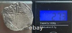 1600s Spanish Spain 8 Reales Real Cob Silver Coin Colonial Treasure Coin 27.30g