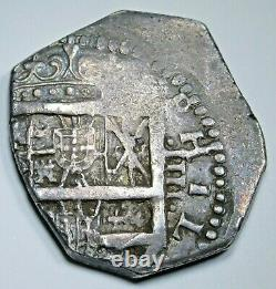 1600s VF-XF Spanish Silver 4 Reales Antique Colonial Half Dollar Pirate Cob Coin