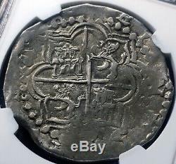 1605-13P R Bolivia 8 Reales COB NGC AU 50