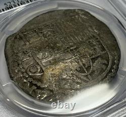 (1612-16) Bolivia 8 Reales Silver Cob Coin PCGS VF Detail KM 10 P Q Phillip III