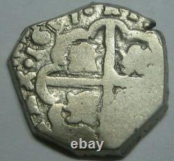 1617 Philip III 2 Real Cob Sevilla Spanish Silver Colonial Era Antique Cob