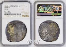 1621, Mexico, Philip IV. Spanish Colonial Silver 8 Reales Cob Coin. NGC VF-25