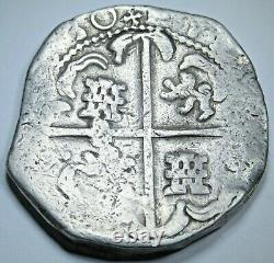 1630 Spanish Bolivia Silver 8 Reales Dated 1600s Colonial Dollar Pirate Cob Coin