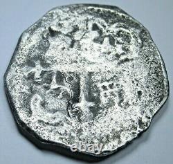 1634-1665 Mexico Silver 2 Reales Genuine Antique 1600's Spanish Pirate Cob Coin