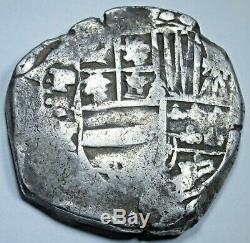 1636-1640 Spanish Bolivia 8 Reales Old Colonial 1600's Silver Dollar Cob Coin