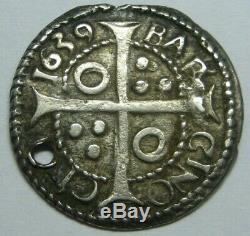 1639 Philip IV Real Croat Cob Barcelona Spanish Silver Colonial Era Silver Cob