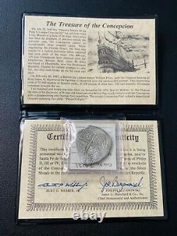1640 Concepcion Shipwreck Mexico Silver 8 Reales, Piece of Eight Cob, 1641 COA