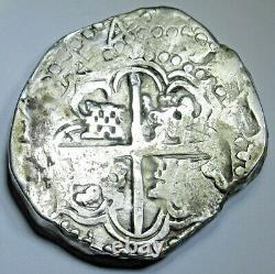 1644 Spanish Bolivia Silver 8 Reales Antique 1600's Old Colonial Dollar Cob Coin