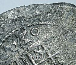 1650's Mexico Shipwreck Silver 8 Reales 1600's Spanish Colonial Pirate Cob Coin