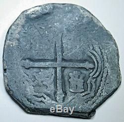 1652 Shipwreck Spanish Mexico Silver 8 Reales Dated Colonial Dollar Cob Coin