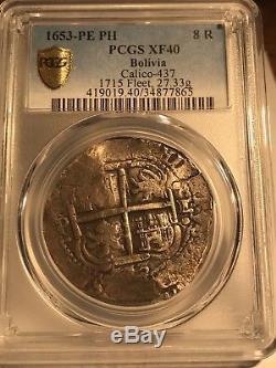 1653 PE PH 8 Reales Cob Bolivia PCGS XF40! 34877865