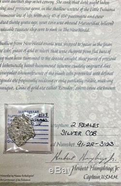 1655 Spanish Cob 2 REALES Silver Coin NUESTRA SEÑORA DE LAS MARAVILLAS Shipwreck