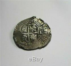 1657 E Spain, Colonial Bolivia Potosi 8 Reales Silver Cob Coin Double Date