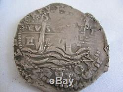 1657 Spanish Colonial Silver 8 Reales Cob Coin