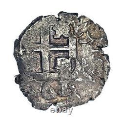 1661 Bolivia 2 Reales Silver Coin Spanish Colonial Cob (VF Condition) KM 16