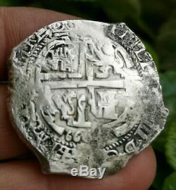 1666 BOLIVIA 8 REALES Potosi SHIPWRECK SILVER DOLLAR COB COLONIAL COIN