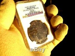 1666 Bolivia 8 Reales Piedmont Shipwreck Silver Dollar Cob Colonial Coin