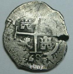 1668 Potosi 2 Real Cob Charles II Double Date Bolivia Silver Colonial Era Cob