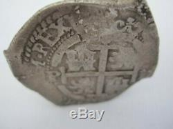 1668 Spanish Colonial Silver 8 Reales Cob Coin Macuquina Type